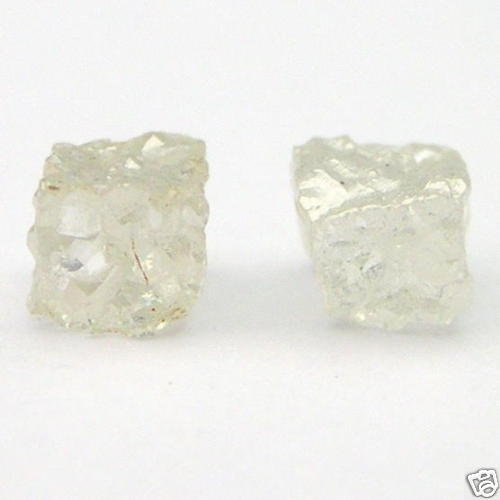 WHITE Natural CUBE Uncut Raw ROUGH DIAMONDS PAIRS
