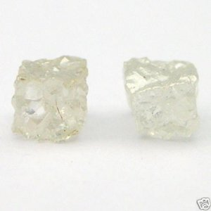 WHITE Natural CUBE Uncut Raw ROUGH DIAMONDS PAIRS