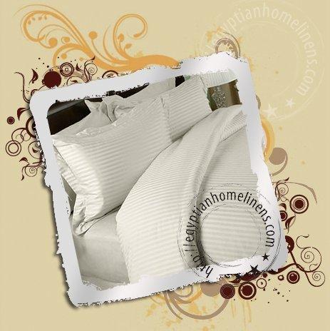 Full Sheet Set 1200 TC Ivory Stripe Italian Finish Egyptian Cotton Luxury Bed Linens