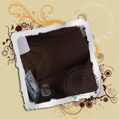 1200TC King Size Sheet Set Chocolate Stripe Egyptian Linens