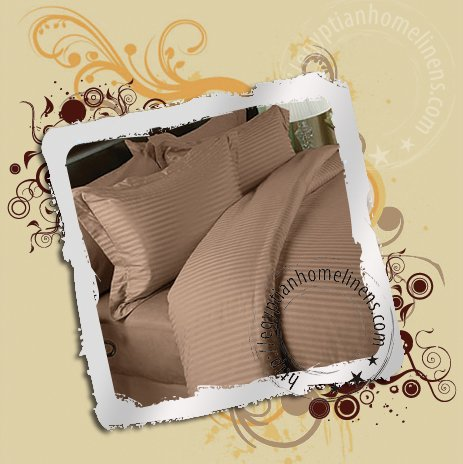 1500TC Queen Sheets Taupe Stripe 100% Egyptian Cotton Luxury Bed Sheet Set