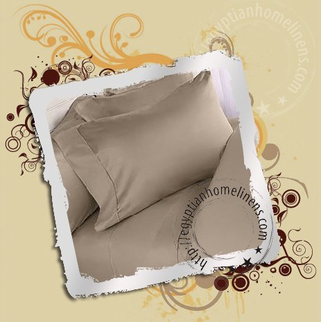 1500-TC King Size Sheet Set Taupe Egyptian Cotton Bed Linens