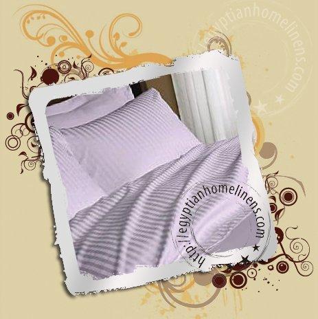 1500TC Duvet Cover Full Size Lavender Stripe 100% Egyptian Cotton Duvet Cover Set