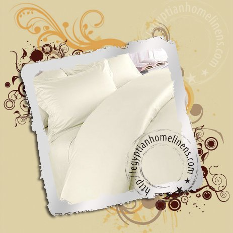 600 Thread Count Twin Size Sheet Set Ivory Egyptian Cotton