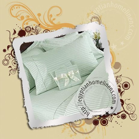 Calking Size Sheet Set 1000TC Egyptian Cotton Sage Stripe Bed Linen