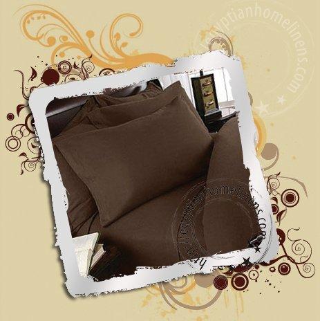 Egyptian Cotton 1000-TC Queen Duvet Cover Chocolate