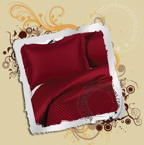 1000-TC Duvet Cover Egyptian Cotton King Burgundy Stripe