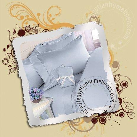 1000tc King Sheets Egyptian Cotton Blue Stripe Bed Sheet Set