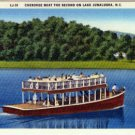 Linen Postcard. Cherokee Boat the Second on Lake Junaluska, N.C.