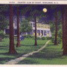 Linen Postcard. Country Club by Night, Highlands, N.C.