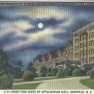 Linen Postcard. Night-Time Scene of Appalachian Hall, Asheville, N.C.