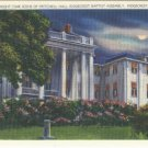 Linen Postcard. Night-Time Scene of Pritchell Hall, Ridgecrest Baptist Assembly, Ridgecrest, N.C.