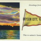 Linen Postcard. Greetings from Bryson City, N.C.