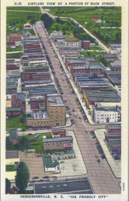Linen Postcard. Airplane View of a Portion of Main Street, Hendersonville, N.C.