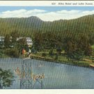 Linen Postcard. Alba Hotel and Lake Susan, Montreat, N.C.