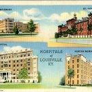 Linen Postcard. Hospitals of Louisville, KY