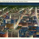 Linen Postcard. Night Scene of Cleveland's East Side from Terminal Tower