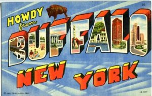 Linen Postcard. Howdy from Buffalo New York