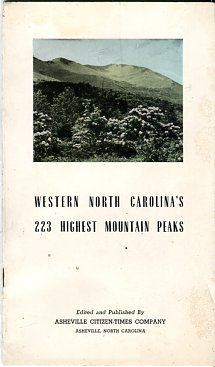 McCoy, George W, compiler. Western North Carolina's 223 Highest Mountain Peaks
