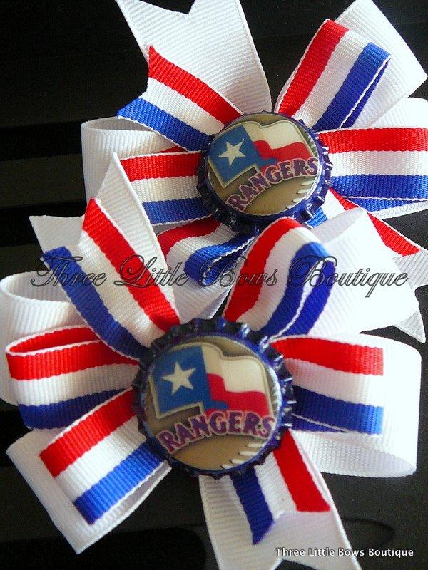 Texas Rangers matching pinwheel bows with Rangers bottle top