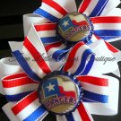 Texas Rangers matching pinwheel bows with Rangers bottle top