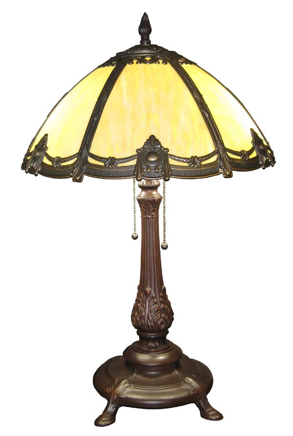 Antique Style Victorian Stained Bented Glass Table Lamp