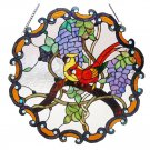 Love Birds in the Grape Vine Stained Glass Panel