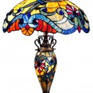 Delightful Double lit Dragonfly Tiffany Style Table Lamp