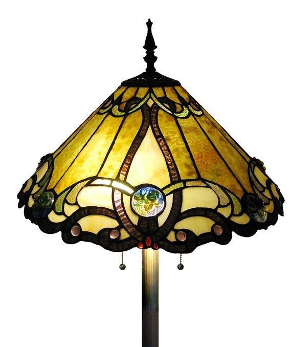 Contemporary Golden Victorian Tiffany Style Floor  Lamp