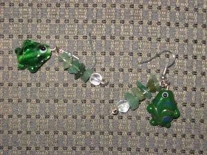 Fish Earrings Handmade Green