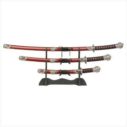 SAMURAI SWORDS/WOOD STAND SET