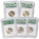 1999 Set of 5 Quarters - Philadelphia Mint Certified 66