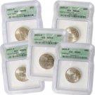 2001 Set of 5 Quarters - Philadelphia Mint Certified 66