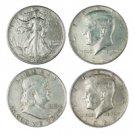 Silver HALF DOLLAR Type Set - 4 Coins - Circulated