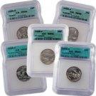2006 Set of 5 Quarters - Denver Mint Certified 66