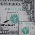 1999 $1 Federal Reserve Note Error - Misaligned