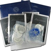 1971 to 1974 Eisenhower Silver Dollars - 4 Uncirculated / 4 Silver Proof