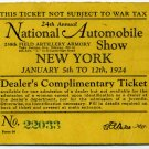 1924 Nat. Auto Show Dealer Ticket, Ford / Lincoln Rare!