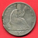 1848-O Seated Liberty Half, Clipped - Ragged Edge, Fine