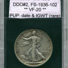 1936 Liberty Walkng Half DDO-2, FS-1936-102, Very Fine