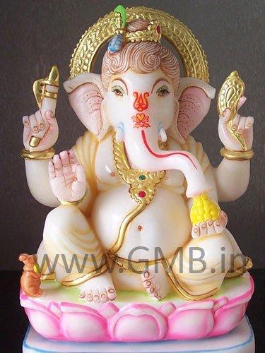 "Beautiful Ganesha on Lotus 12"" - GNS120019"