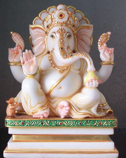 "Beautiful Lord Ganesh Statue from Marble 12"" - GNS120014"