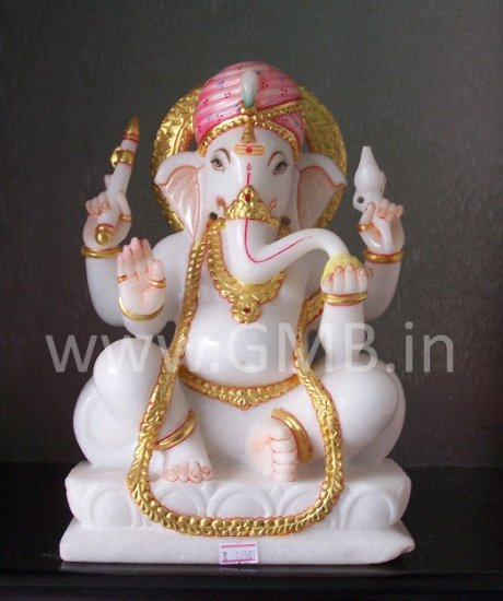 "Marble Statue of Lord Ganesha 12""  - GNS12003"