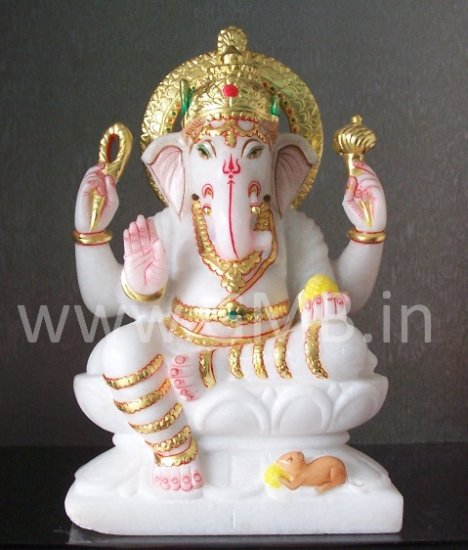 """Marble Lord Ganesh Statue 12"""" - GNS12001"""