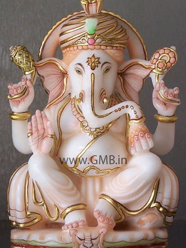 """Marble Statue of Lord Ganesh 09"""" - GNS09003"""
