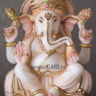 "Marble Statue of Lord Ganesh 09"" - GNS09003"
