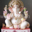 "Beautiful Ganesha Statue Carved from Marble 12"" - GNS120015"