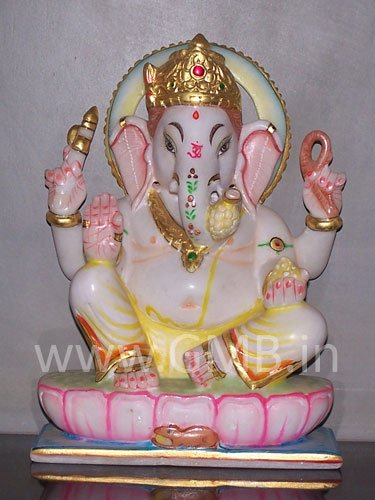 """Marble Statue of Lord Ganesh 09"""" - GNS09004"""