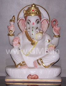 """Marble Statue of Lord Ganesh 09"""" - GNS09005"""