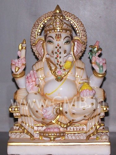 """Marble Statue of Lord Ganesh 09"""" - GNS09006"""